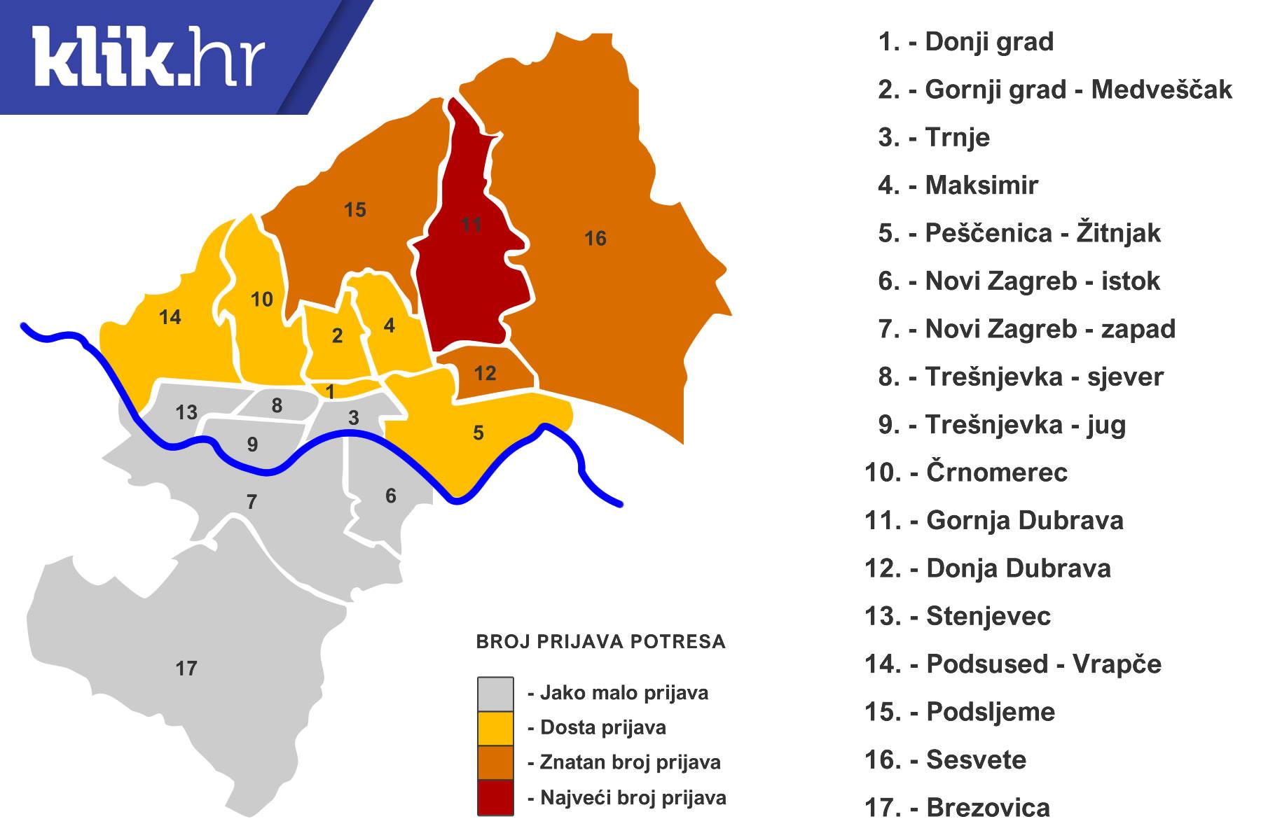 Karta Potresa U Zagrebu Po Emsc U U Kojim Se Kvartovima Najvise